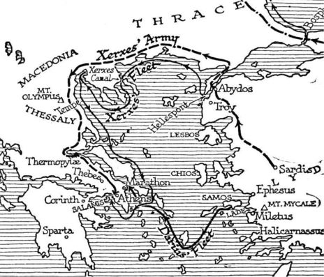 The Preprations of Xerxes. map of the route of Xerxes army and navy